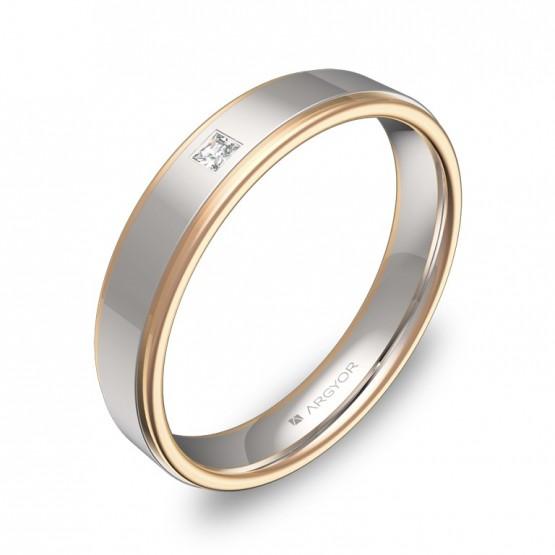 Alianza de boda plana con biseles en oro bicolor 1 diamante D1940P1PR