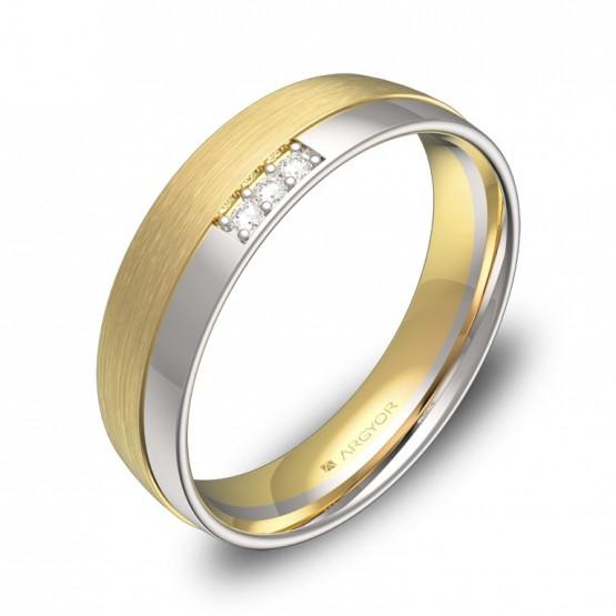 Alianza de boda de oro bicolor con ranuras y diamantes D2050C3BA