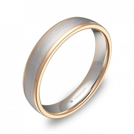 Alianza de boda plana con biseles 4mm oro bicolor combinado D2340C00R