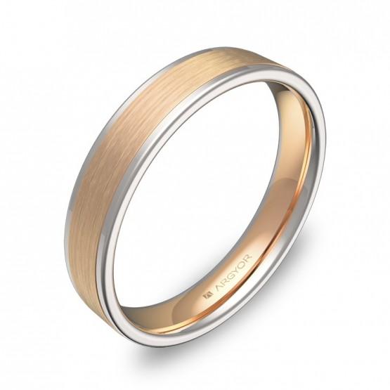 Alianza de boda plana con biseles en oro bicolor combinado D2440C00R