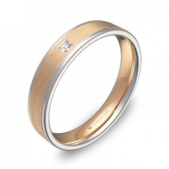 Alianza de boda 4mm con biseles en oro bicolor con diamante D2440C1PR