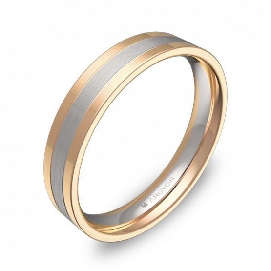 Alianza de boda con ranuras 4mm en oro bicolor combinado D2540C00R