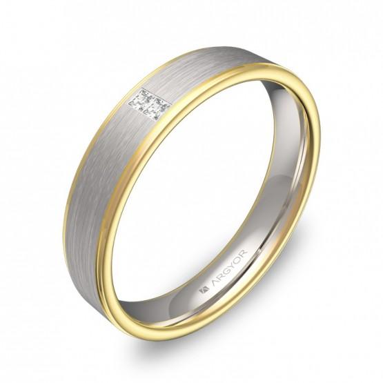 Alianza de boda con biseles en oro bicolor con diamantes D2640C2PA