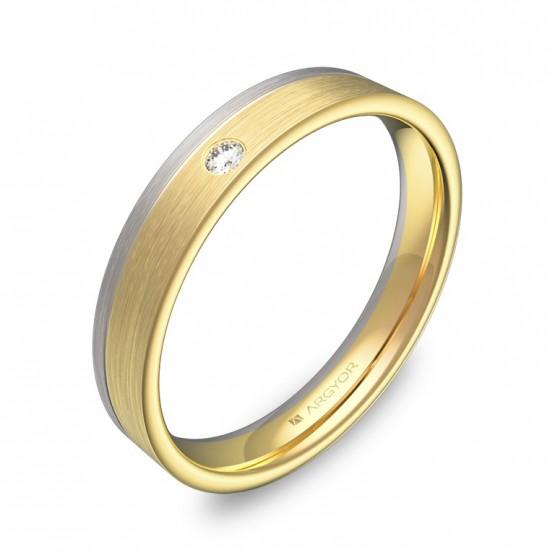Alianza de boda con ranuras en oro bicolor con diamante D2735S1BA