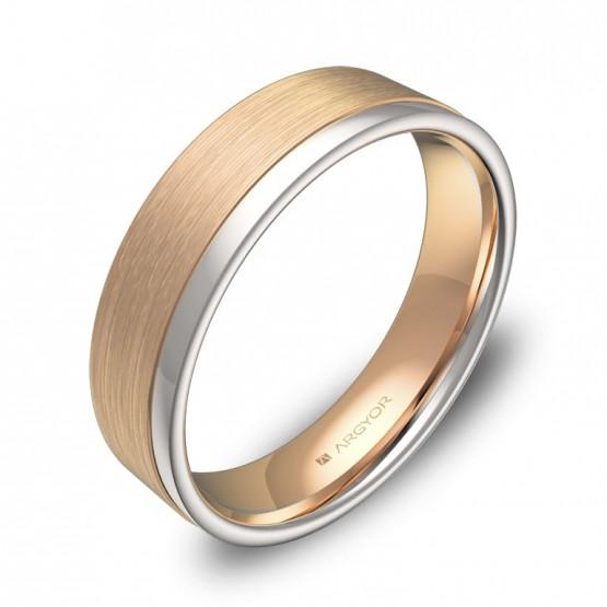 Alianza de boda con ranuras 5mm en oro bicolor combinado D2850C00R