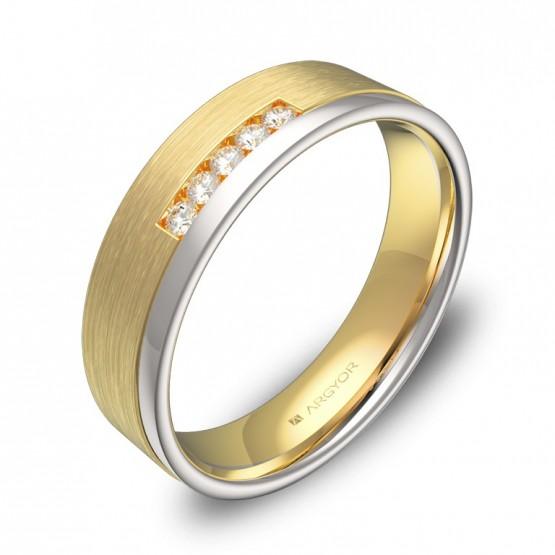 Alianza de boda de oro bicolor plana con ranuras 5 diamantes D2850C5BA