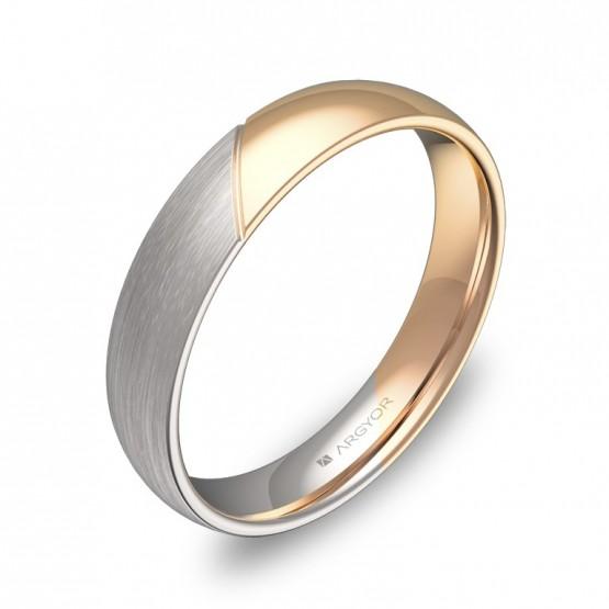 Alianza de boda de media caña con ranuras en oro bicolor D3040C00R