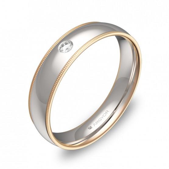 Alianza de boda  biseles en oro bicolor pulido con diamante D3145P1BR