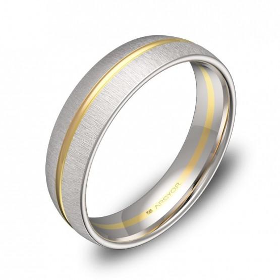 Alianza de boda de media caña con ranuras 5mm oro bicolor D3350T00A