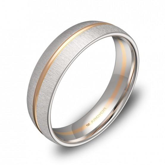 Alianza de boda de media caña con ranuras 5mm en oro bicolor D3350T00R