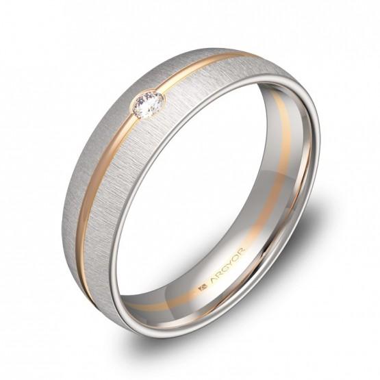 Alianza de boda 5mm en oro bicolor textura con diamante D3350T1BR