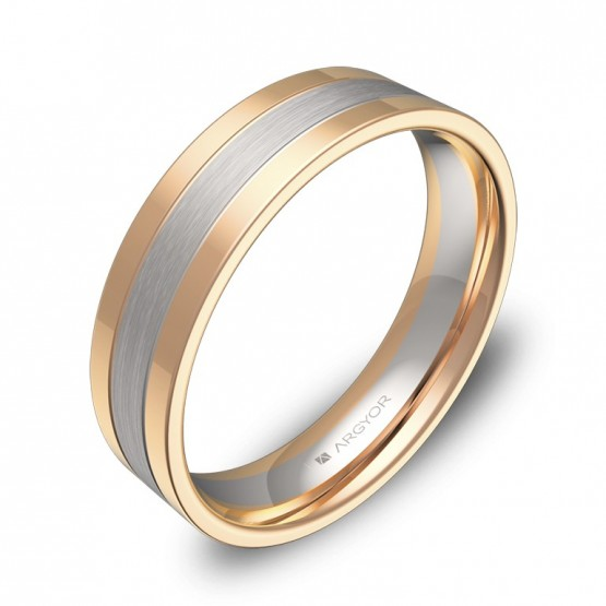 Alianza de boda 5mm en oro bicolor combinado D3450C00R