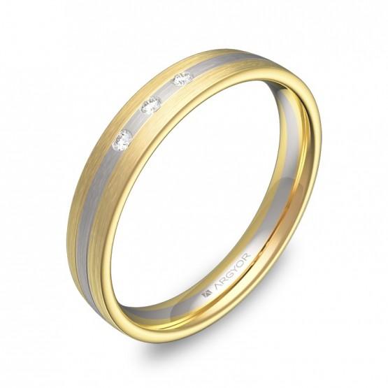 Alianza de boda con ranuras en oro bicolor con diamantes D3535S3BA