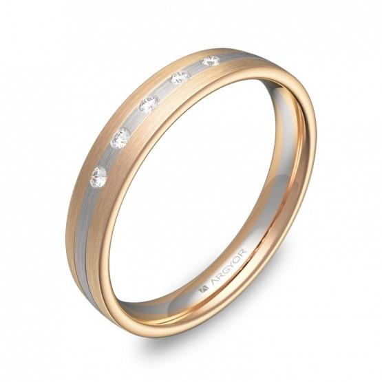 Alianza de boda con ranuras oro bicolor satinado y diamantes D3535S5BR