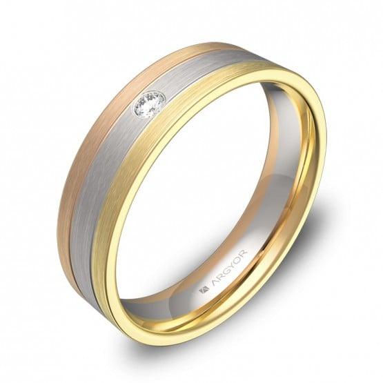 Alianza de boda en oro tricolor con diamante D3750S1BT