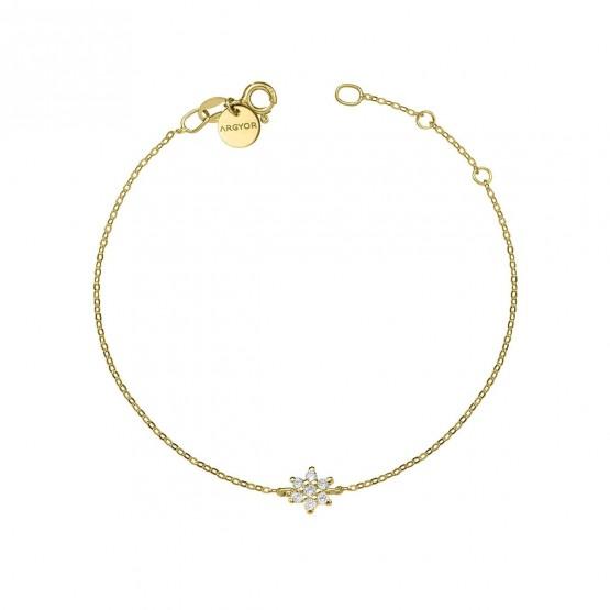 Pulsera oro amarillo 18k con Flor de diamantes (76APU001)