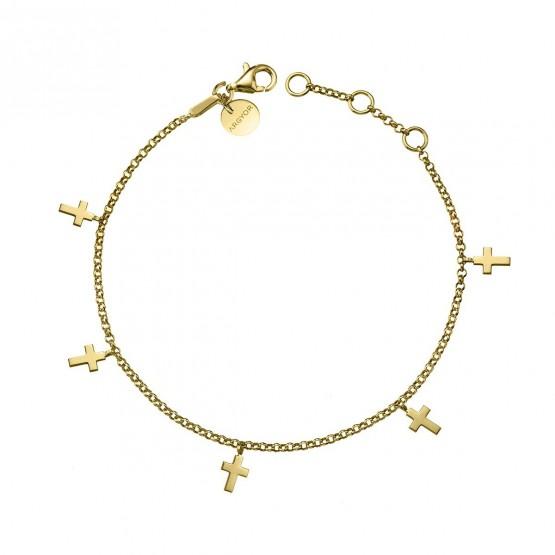 Pulsera de oro amarillo con Cruces (4A8307304)