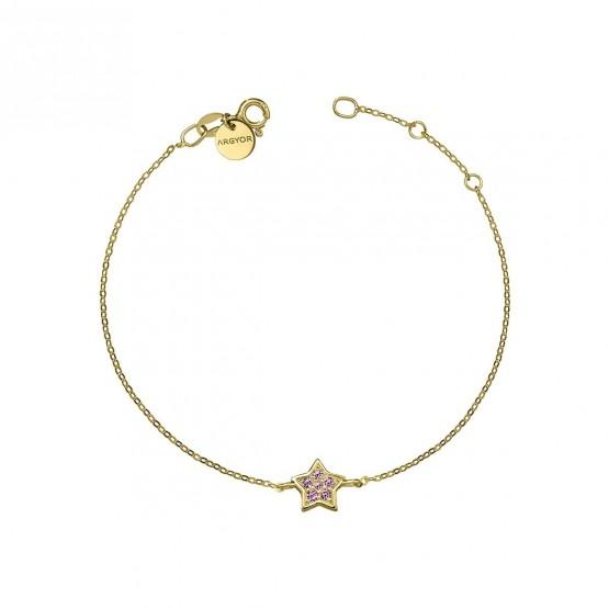 Pulsera oro Estrella con Zafiro rosa  (76APU005ZR)