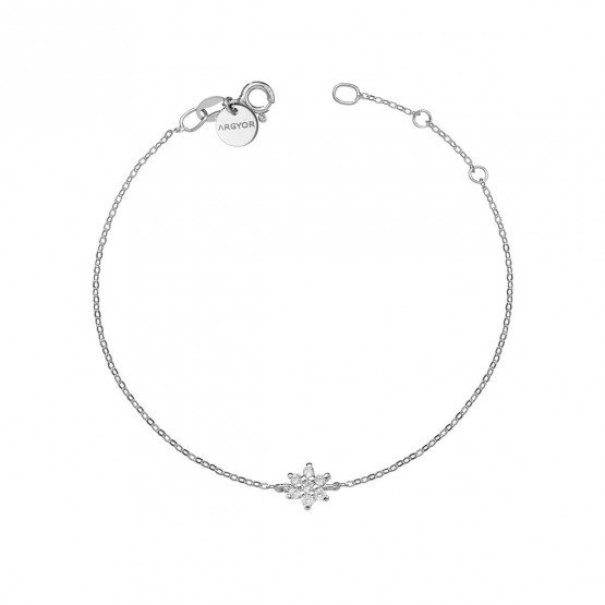 Pulsera oro blanco 18k con Flor de diamantes (76BPU001)