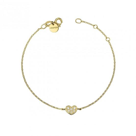 Pulsera oro amarillo 18k con Corazón de diamantes (76APU007)
