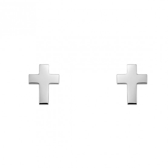 Pendientes de oro blanco en forma de cruz (6B8307304)