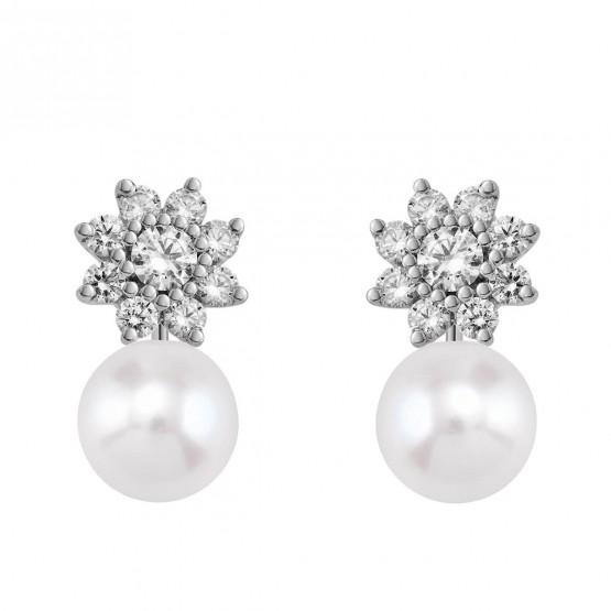 Pendientes de platino con Diamantes y perlas desmontables (75B0105P)