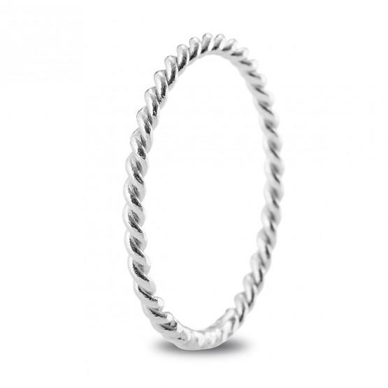 Anillo de matrimonio de oro blanco de diseño trenzado (5B16518)