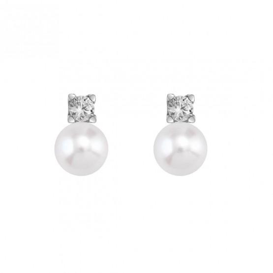 Pendientes de platino con diamantes y perlas (75B0103P)
