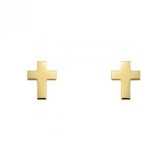 Pendientes de plata dorada con forma de cruz (6A8307304)