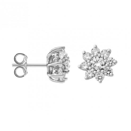 Pendientes de platino con Diamantes en Flor (75B0105)