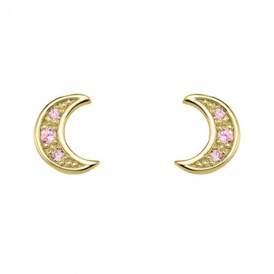 Pendientes oro Luna con zafiros rosa (76APE004ZR)