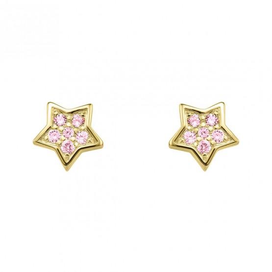 Pendientes oro Estrella con zafiros rosa (76APE005ZR)