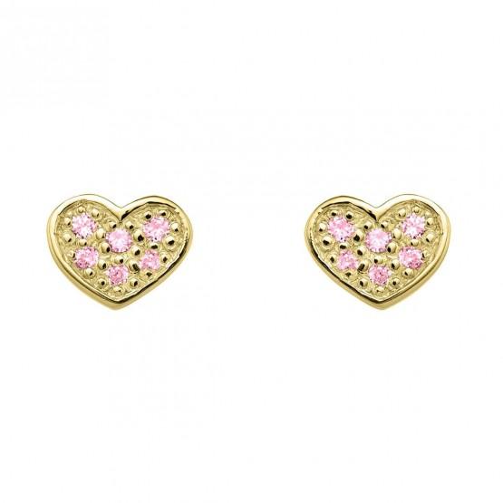 Pendientes oro Corazon con zafiros rosa (76APE007ZR)