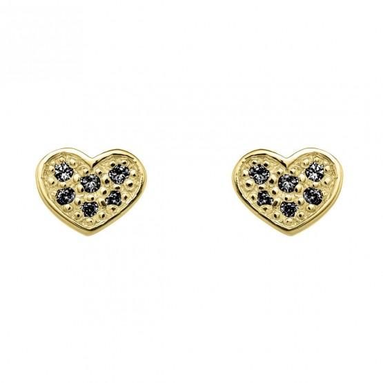 Pendientes oro corazón con diamantes negros (76APE007DN)
