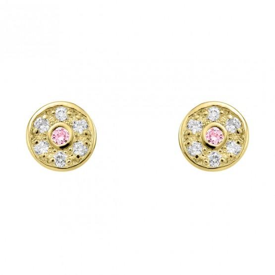Pendientes oro roseta diamantes y zafiro rosa (76APE003ZR)