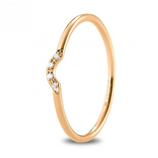 Anillo de oro rosa media corona y 4 diamantes (74R0098)