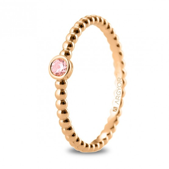 Anillo Zafiro de oro rosa diseño perlado (74R0087ZR)