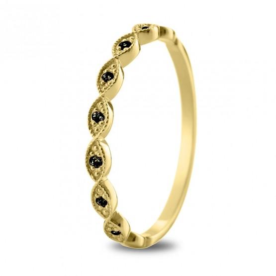 Anillo Diamante Negro y óvalos de oro 18k (74A0071DN)
