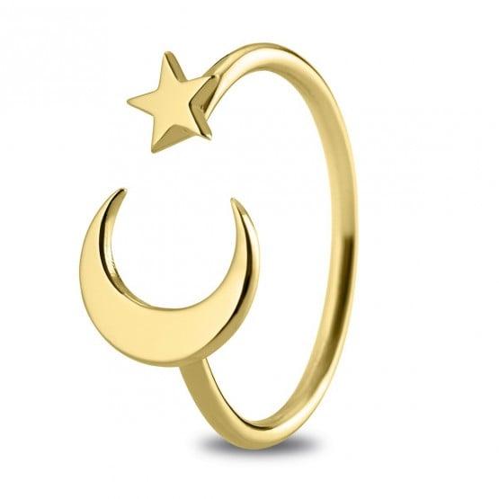 Anillo de oro de 18k Luna y Estrella (7A8307300)