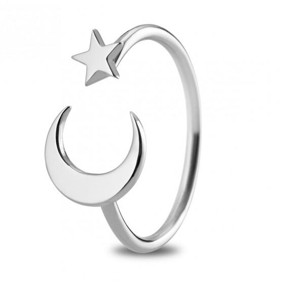Anillo de oro blanco de 18k Luna y Estrella (7B8307300)