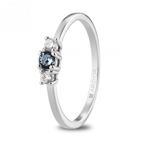 Anillo corona Diamante y Zafiro Azul (74B0083ZA)