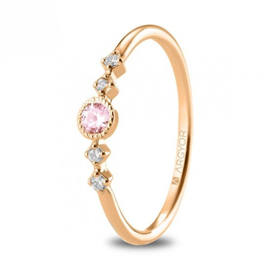Anillo Zafiro rosa 4 Diamantes (74R0084ZR)