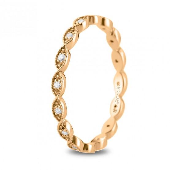 Anillo de oro rosa ovalos y diamantes (74R0168)