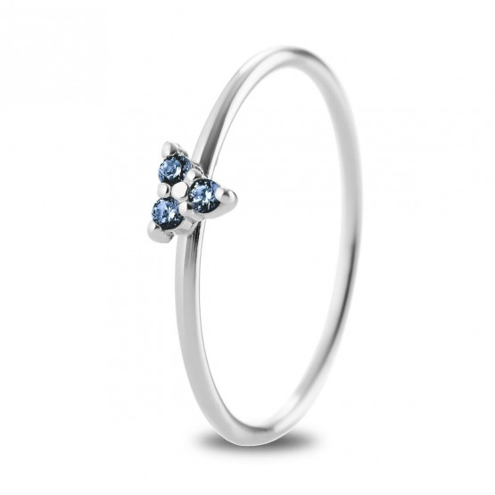 Anillo oro blanco Triángulo Zafiro Azul (76BAN002ZA)
