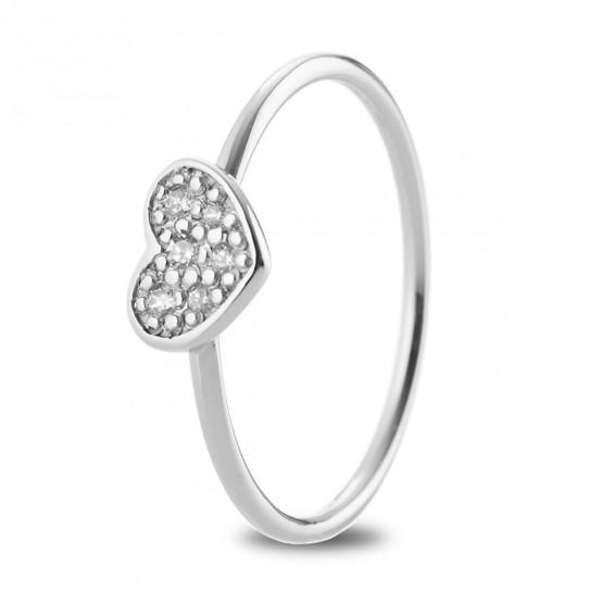 Anillo Corazón diamantes y oro blanco (76BAN007)