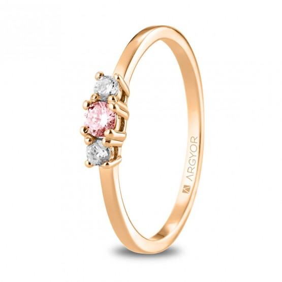 Anillo corona Diamante y Zafiro rosa (74R0083ZR)
