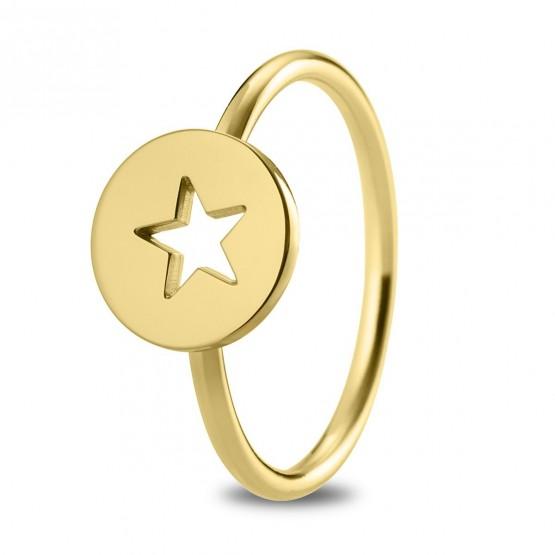 Anillo de plata dorada Estrella calada (7A8307309)