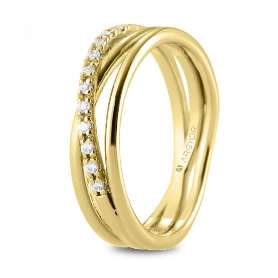 Anillo de diamantes en oro cruzado triple (74A0161)