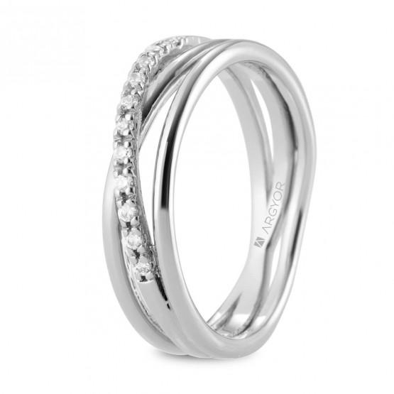 Anillo de diamantes en oro blanco cruzado triple (74B0161)