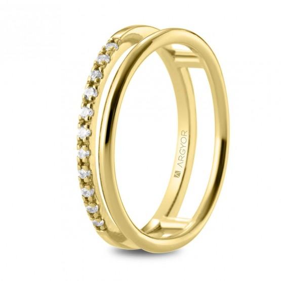 Anillo de diamantes en oro doble aro (74A0163)